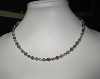 Sparkling chrystal silver and copper necklace