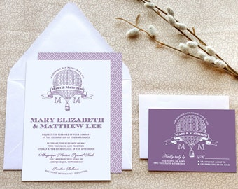 Hot Air Balloon Wedding Invitations - Steampunk Wedding - Purple Wedding - Retro Wedding - Travel Wedding