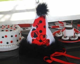 Ladybug Birthday Hat...Girls Ladybug Birthday Hat...First Birthday Hat...Second Birthday Hat...Third Birthday hat