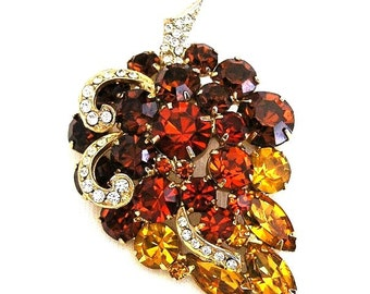 Amber Orange and Topaz Brooch With Clear Accents
