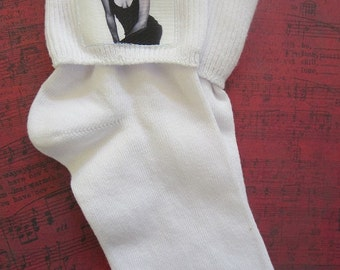 Whitney Houston Socks featured in August 2013 issue of BUST Magazine - NWT