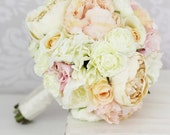 Silk Bride Bouquet Pink Peony Flowers Peonies Shabby Chic Wedding