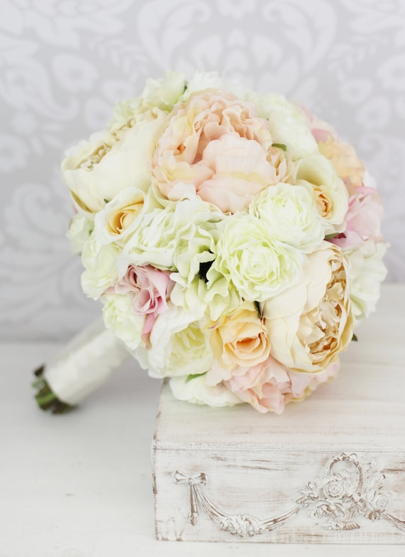shabby chic wedding bouquets items similar to silk bouquet pink peony flowers 7307