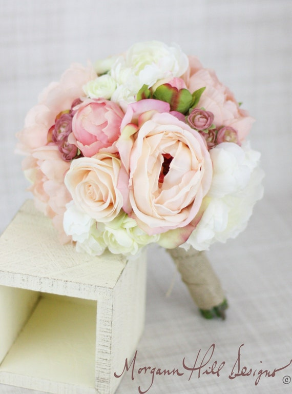 Silk Bridesmaid Bouquet Peony Peonies Roses Ranunculus Country Wedding Lace (Item Number 130111)