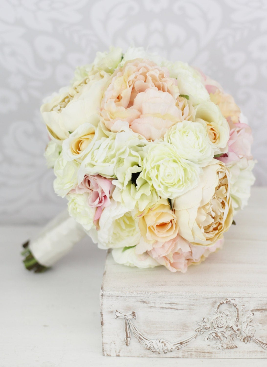 Silk bride bouquet pink peony flowers peonies by braggingbags for Bouquet chic