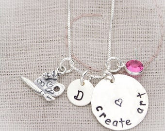 Create Art Sterling Silver Artist Art Teacher Hand Stamped Necklace