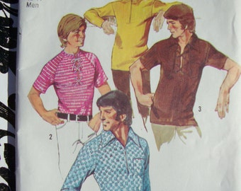 Vintage Simplicity 1970s Mens Knit Shirt Patterns 9992 - Austin Powers - Scooby Doo - Size Medium 38 - 40