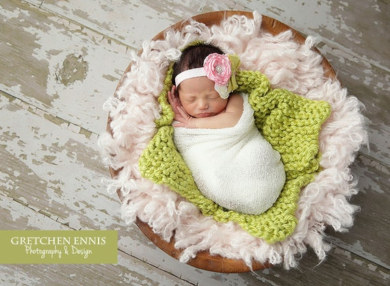 Knit Baby Green Mini Blanket - Apple Green