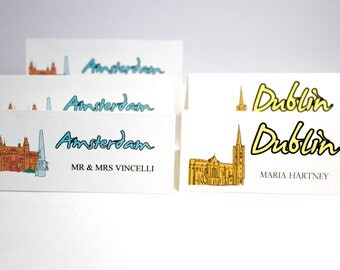 Travel Theme Escort Cards Cities of the World Place Cards for Weddings or Special Events Tent Fold or Flat Card