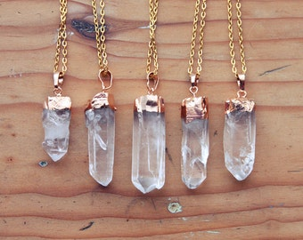 Gold Dipped Raw Quartz Crystal Point Necklace - Rough Clear Spike with Plated Chain, Natural Layering Druzy Pendant