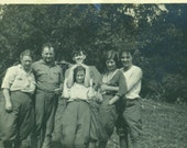 Fun Day At Camp 1920s Women in Pants Road Trip Group Shot  Vintage Photo Black and White Photograph
