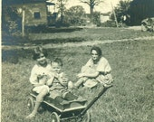 Walden NY Kids Sitting in a Toy Wagon With Mother 1920s Summer Day  Vintage Photo Black and White Photograph