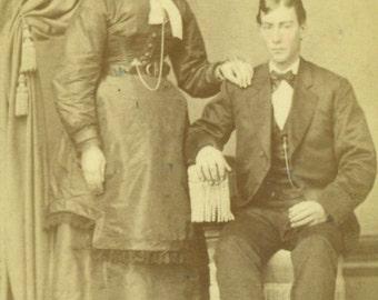 Lancaster PA Victorian Young Husband Wife Corset Waist Dress Farm Pennsylvania CDV Antique Studio Portrait Photo Photograph Card