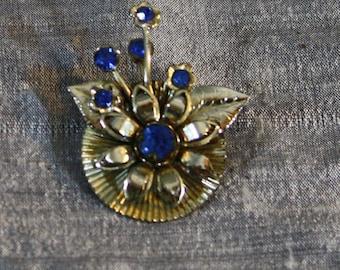 Vintage Cobalt Rhinestone and Chrome Flower Brooch