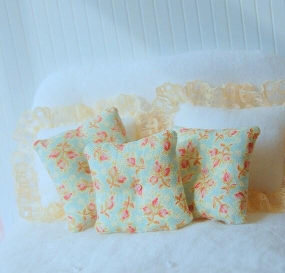 Dollhouse Pillow Set Discount Miniature Shabby Chic Pink Rose Bud Toss Pillows