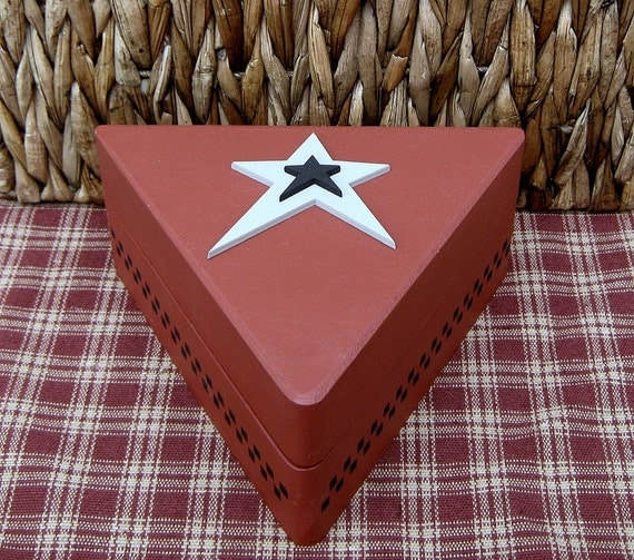Painted Wood Box, Triangle, Trinket Box, Jewelry Box, Barn Red, Gray and Black Stars, Black Accents