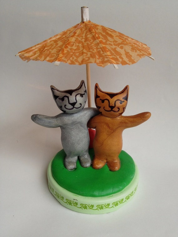 Whimsical Kitty Cat Cake Topper, Clay Animal Cake Topper, Children's kitten cake topper