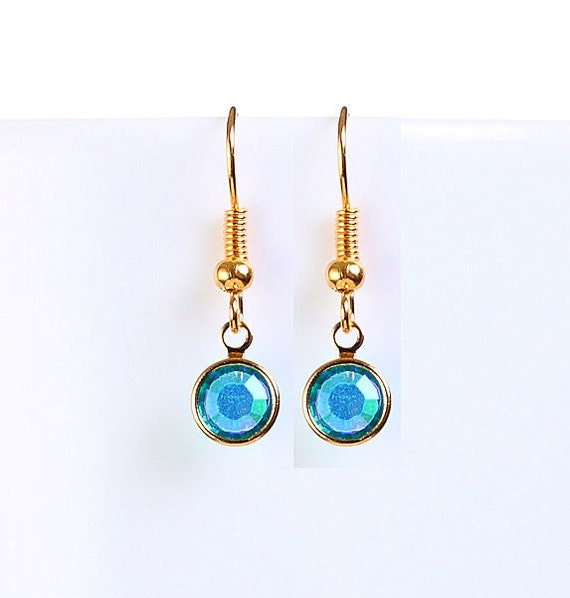 Bridesmaid gift - Petite blue zircon AB austrian crystal round gold dangle earrings (699) - Flat rate shipping