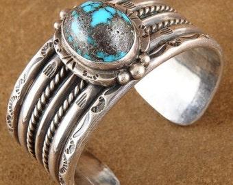 Vintage Pawn 1950s Navajo Sterling Silver Bisbee Turquoise Bracelet s6.5