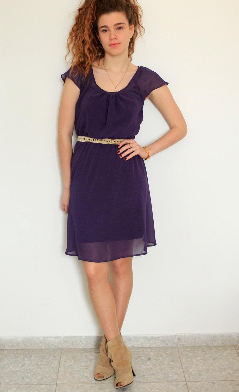 Bridesmaid Chiffon Purple Dress Ready Made Custom