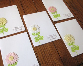 Thank You so much with Glittering Daisy Flower Notecards - Set of 5
