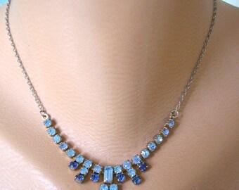 BLUE RHINESTONE Necklace, Great Gatsby Necklace, Bridal Necklace, Wedding Jewelry, Bridal jewelry, Blue Wedding Jewelry