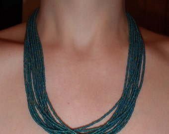 Teal Sea Green Multi strand glass bead necklace