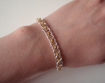 Silver and gold tone Parallel weave chainmaille bracelet