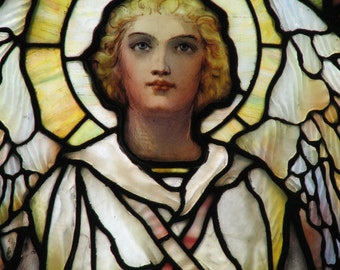 White Winged Angel -  Fine Art Photograph of Stained Glass Window, Vintage Art Print, Woman Portrait, Wall Art, Home Decor, Gift, Yellow