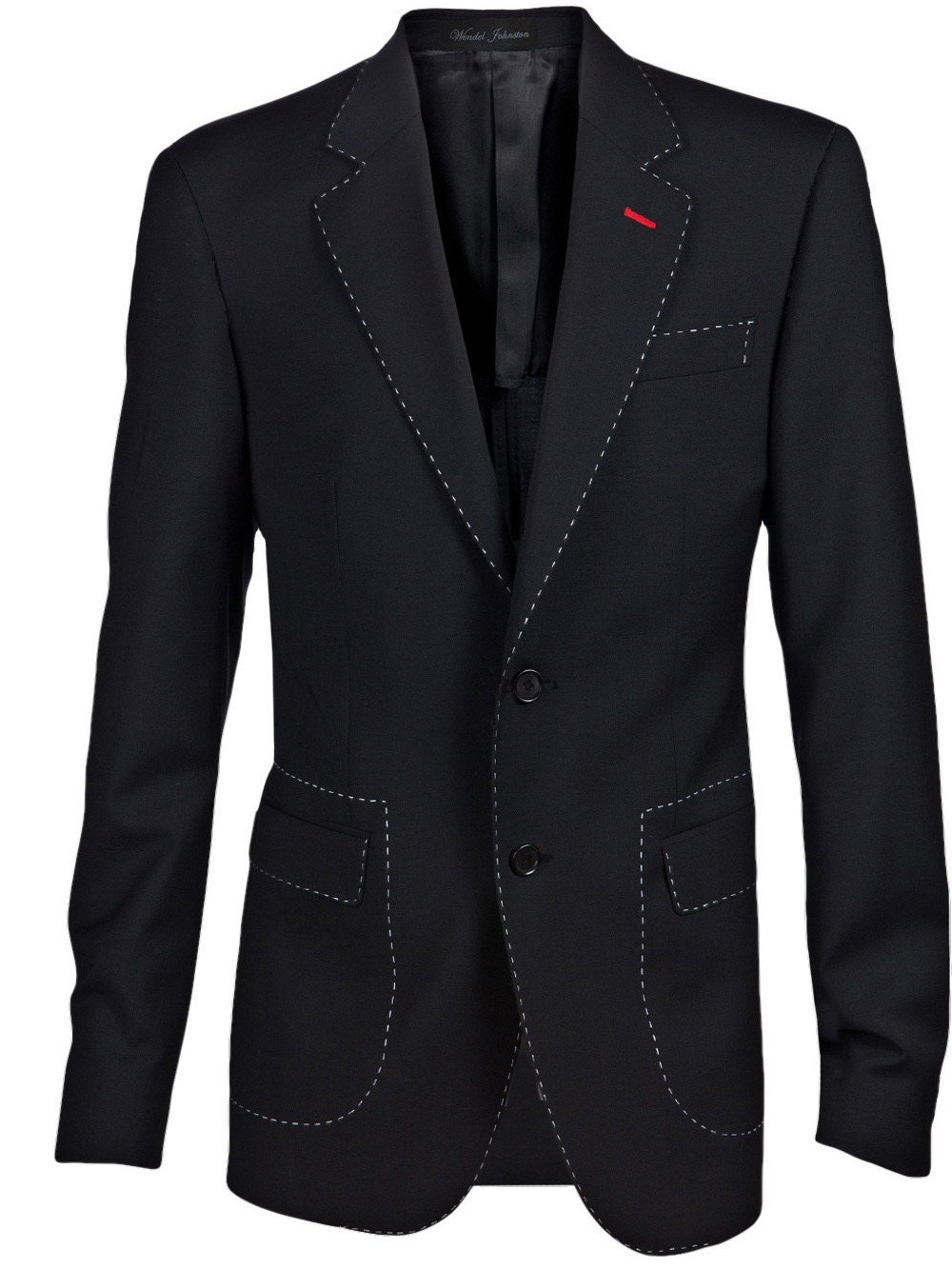 Men's Black Blazer with white and red highlight by Wendelart