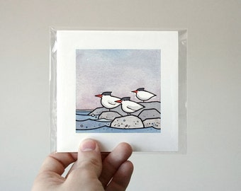 Terns Miniature Art Print - Birds Watercolor Illustration 3x3