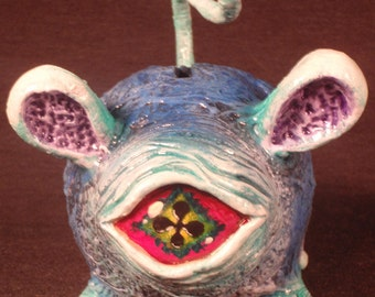 Blinks The Whiffle Rodent Converted Vinyl Piggy Bank By Undead Ed OOAK