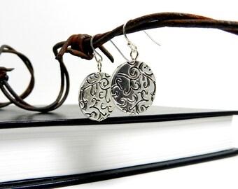 Modern Silver Drop Earrings, Swirl Earrings, Scroll Filigree Silver Drops, Simple Flower Earrings