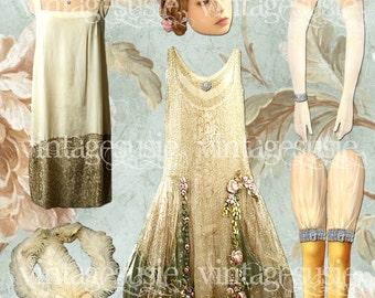 F Scott Fitzgerald GREAT GATSBY Art Paper Doll Collage Sheet 'Daisy Buchanan' digital download FLAPPER Art Deco