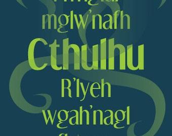Cthulhu R'lyeh Sign Print, 5x7 or 4x6