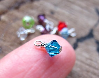 Swarovski Crystal Birthstone Charm - Sterling Silver Wire Wrapped Dangles for Necklace,