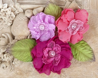 Prima Fabric Flowers Paquita Collection Azelea Item 566425 Pink Flower Embellishment for scrapbooking, millinery, fuchsia