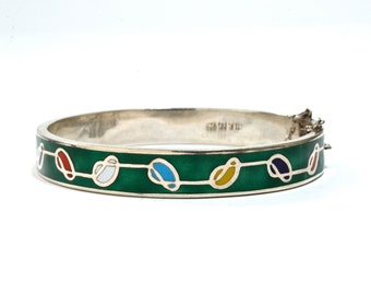 Jugendstil Sterling Enamel Bangle Bracelet - Art Nouveau / Mackintosh Style