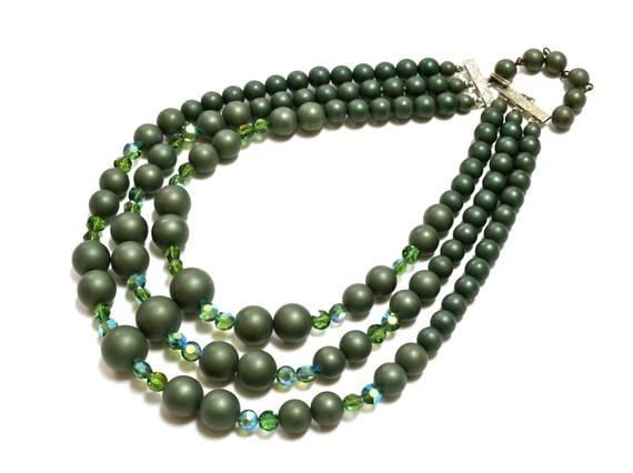 1960s Matte Loden Green Pearls Triple Strand  - AB Green Swarovski Coin Beads