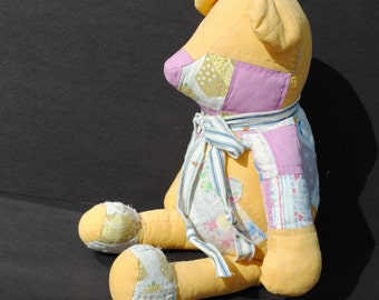 Yellow Patch Quilt Teddy Bear Handmade