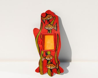 Red Hand Metal Shadow Box with Gold Fish