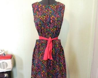 Vintage Dress with fantastic 60s Psychedelic colours M L - on sale