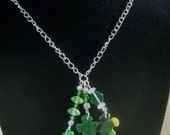 St Patricks day Green Polymer Clay Clover Shamrock with Glass and crystal Beads  Necklace