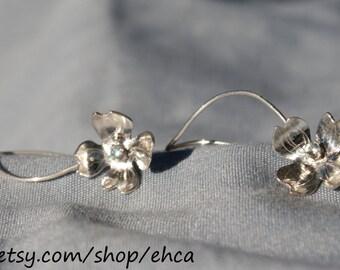 Sterling Silver Dogwood Flower with 2mm Blue Topaz Earrings