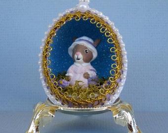 Mrs. Easter Bunny Egg Ornament-lavender