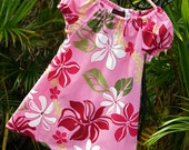 Girls Hawaiian Tunic Dress Muu Muu Handmade in Hawaii Pink Pua Lei size 5/6 Ready to Ship