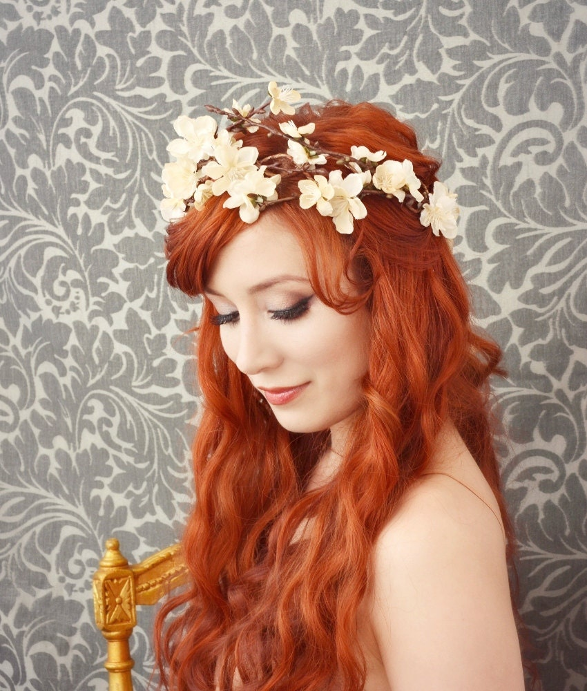 Fall Wedding Hairstyles With Flower Crown: Bridal Floral Tiara Cream Flower Crown Bridal Hair Wreath
