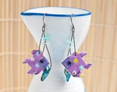 Origami earrings fish in purple with amazonite and pearl eco-friendly jewelry