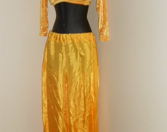Petite Egyptian Tribal Fusion Bellydance Golden Yellow Choli and Harem Pants Set- 011