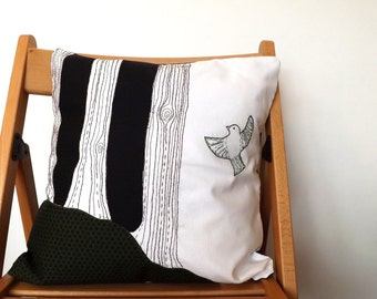 Folk Bird and Tree Appliqued, Embroidered Cushion Cover